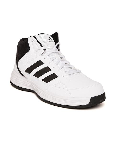 ADIDAS Men White ADI RIB Synthetic Mid-Top Basketball Shoes