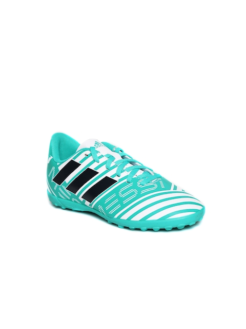 Adidas Boys Teal Blue & White NEMEZIZ MESSI 17.4 TF J Printed Football Shoes