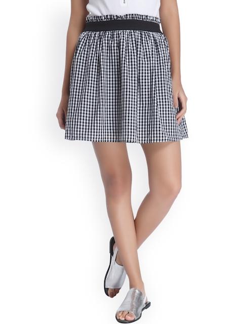 Vero Moda Black & White Checked Flared Skirt