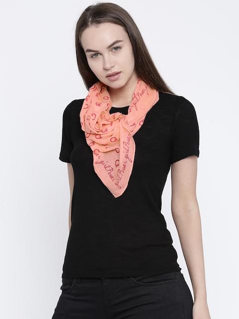 Ayesha Peach-Coloured Printed Scarves