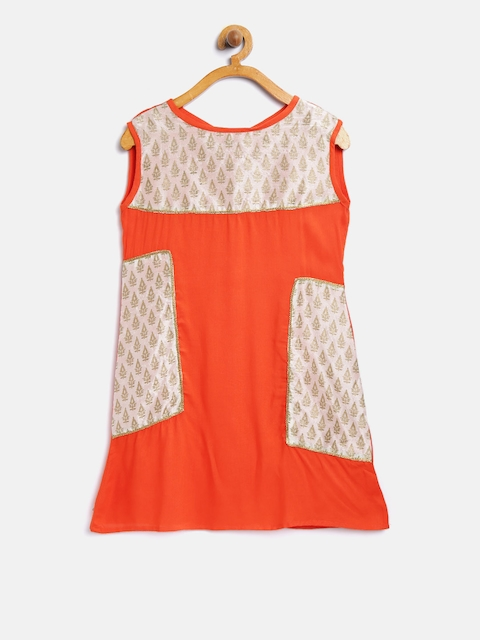 K&U Girls Orange & Off-White Colourblocked A-Line Kurta