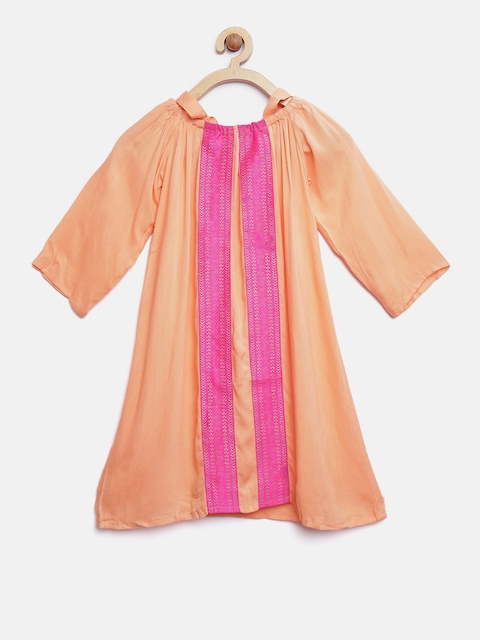 K&U Girls Peach-Coloured & Pink Printed A-Line Kurta