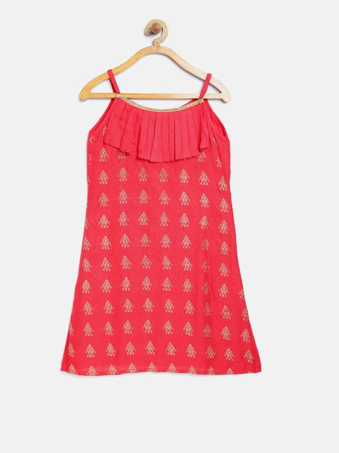 K&U Girls Red Ethnic Print A-Line Kurta