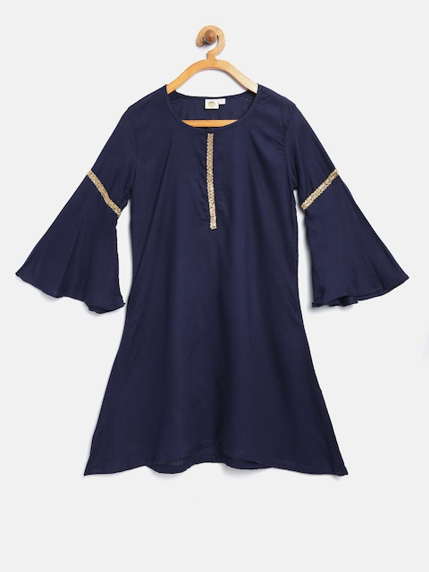 K&U Girls Navy Blue Solid A-Line Kurta