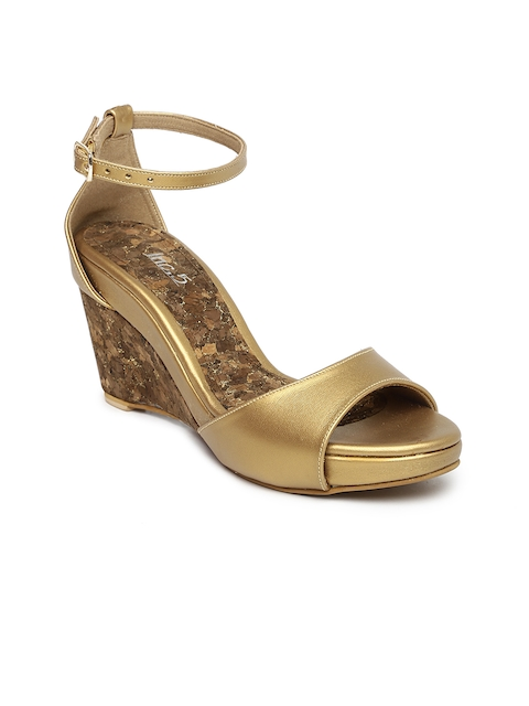 Inc 5 Women Gold-Toned Solid Sandals