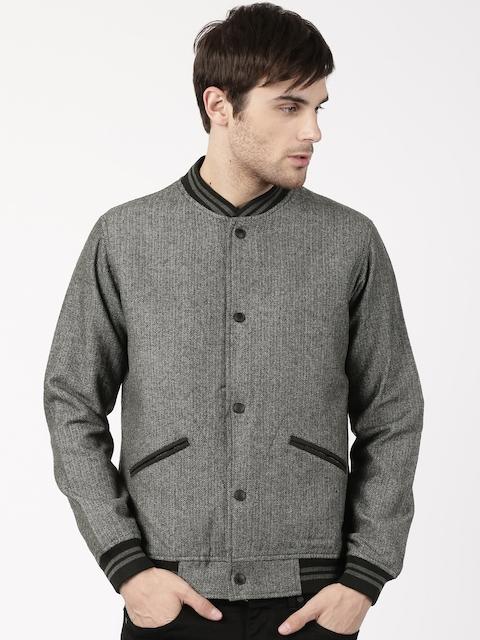 ether Men Charcoal Grey Self Design Bomber Jacket