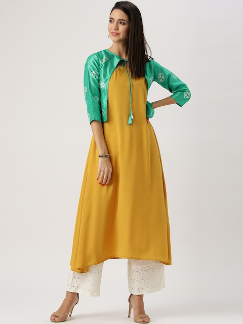 Libas Women Mustard Yellow & Green Solid A-Line Kurta with Ethnic Jacket  available at myntra for Rs.799