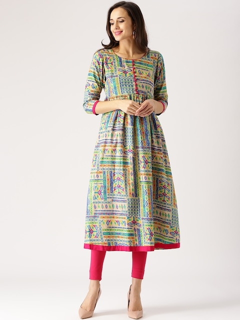 Libas Women Multicoloured Printed Anarkali Kurta  available at myntra for Rs.584