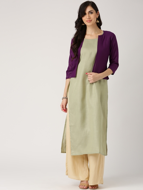 Libas Women Olive Green Solid Straight Kurta with Ethnic Jacket  available at myntra for Rs.299