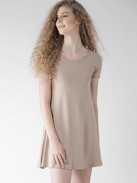 FOREVER 21 Women Beige Solid A-Line Dress