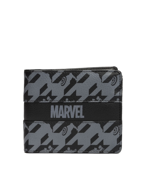 Kook N Keech Marvel Men Black & Grey Printed Two Fold Wallet  available at myntra for Rs.209