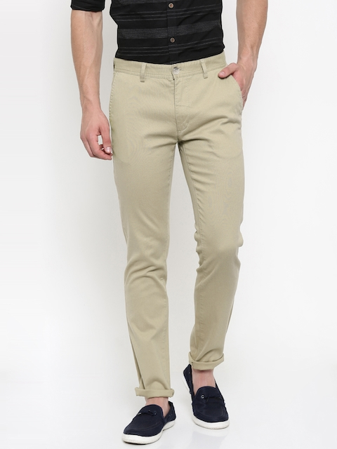 Peter England Casuals Men Beige Super Slim Fit Solid Chino Trousers