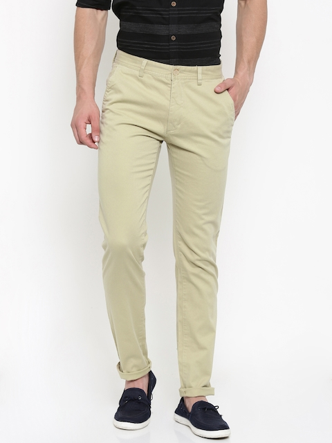 Peter England Casuals Men Beige Super Slim Fit Printed Chino Trousers