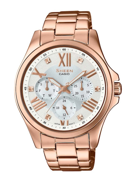 Casio Sheen SHE-3806PG-7AUDR SH192 Mother Of Pearl Dial Analog Watch For Women (SHE-3806PG-7AUDR SH192)