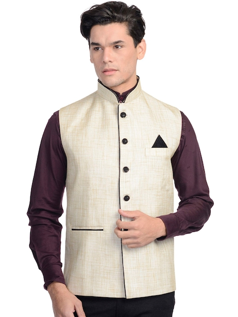 Wintage Men Beige Nehru Jacket