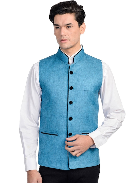 Wintage Men Blue Nehru Jacket