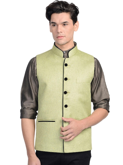 Wintage Men Green Nehru Jacket