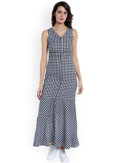 Vero Moda Women Black & White Checked Maxi Dress