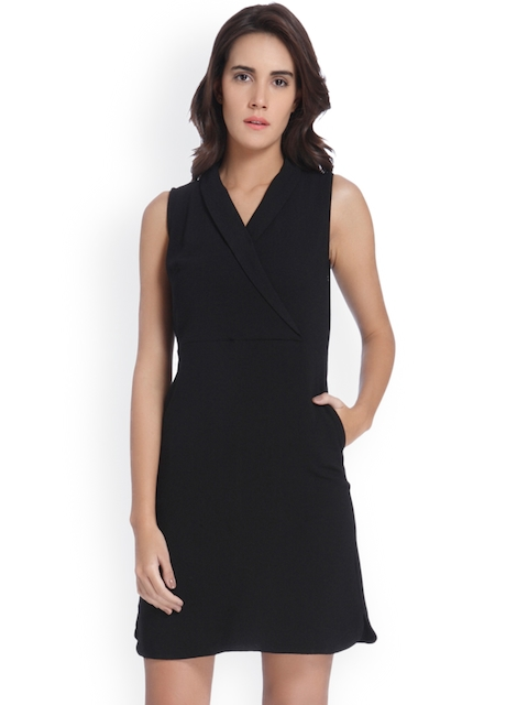 Vero Moda Women Black Solid A-Line Dress