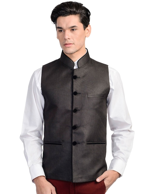 Wintage Men Black Nehru Jacket