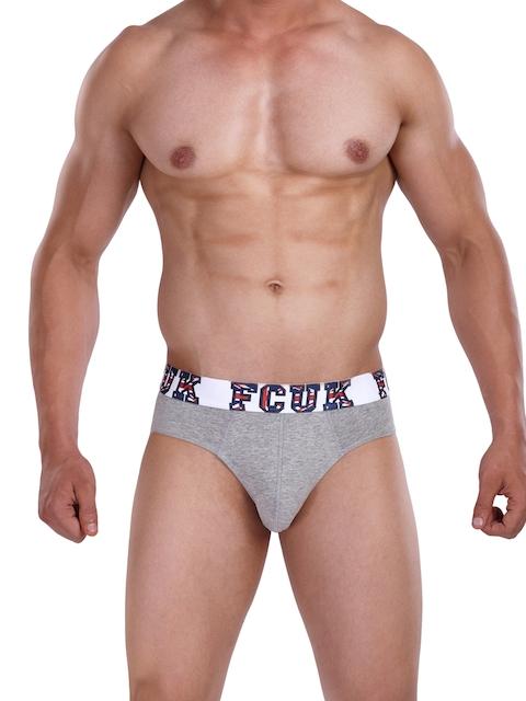 FCUK Men Grey Melange England Hip Briefs CBR07