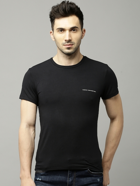 French Connection Men Black Solid Round Neck T-shirt