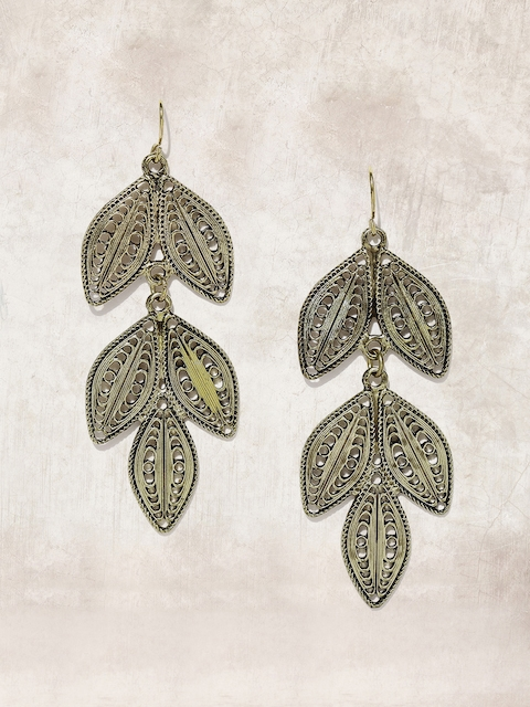 Anouk Antique Gold-Toned Leaf-Shaped Drop Earrings  available at myntra for Rs.239