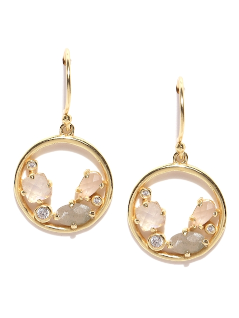 Accessorize Gold-Plated Stone-Studded Drop Earrings