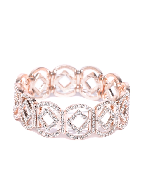 Accessorize Rose Gold-Toned Stone-Studded Cut-Out Bracelet