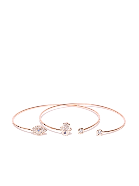 Accessorize Set of 2 Rose Gold-Plated CZ Stone-Studded Cuffed Bracelets