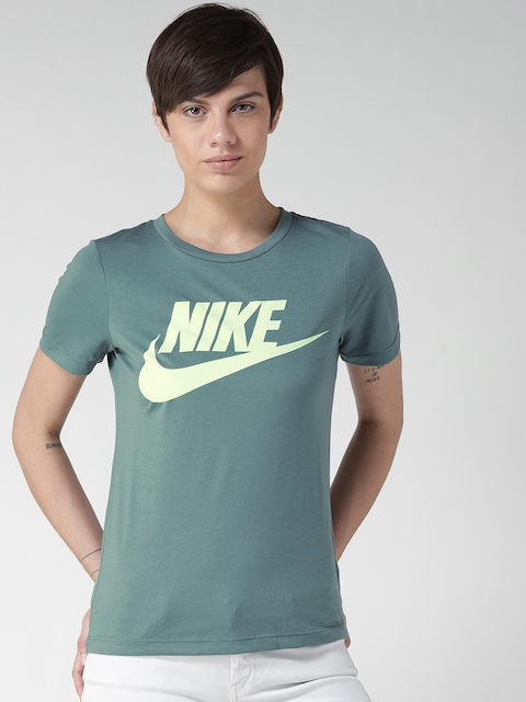 Nike Women Teal Green AS NSW ESSNTL HBR Printed Round Neck T-shirt
