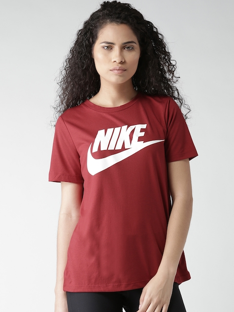 Nike Women Maroon AS NSW ESSNTL HBR Printed T-shirt