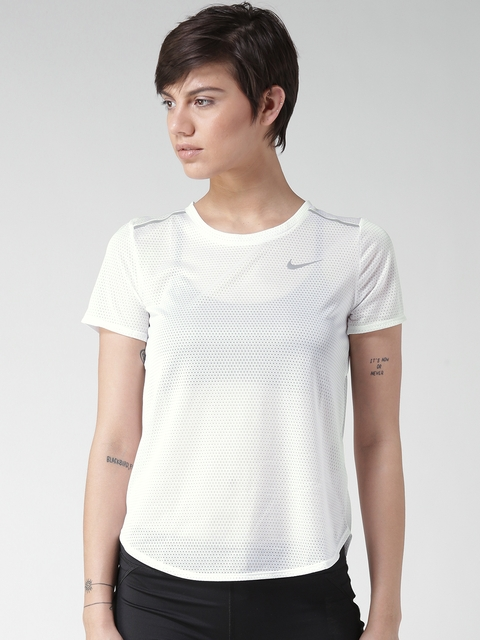Nike Women White AS BRTHE Self Design Styled Back Top