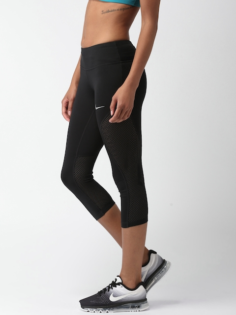 Nike Black AS W NK PWR CROP RACER COOL Tight Fit Capris
