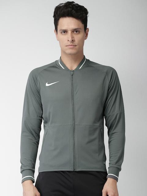 Nike Men Grey Solid Sporty Jacket