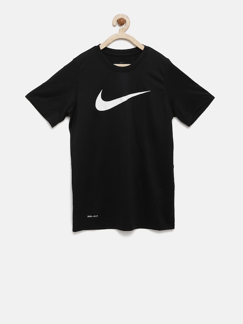 Nike Boys Black Printed Sports T-shirt