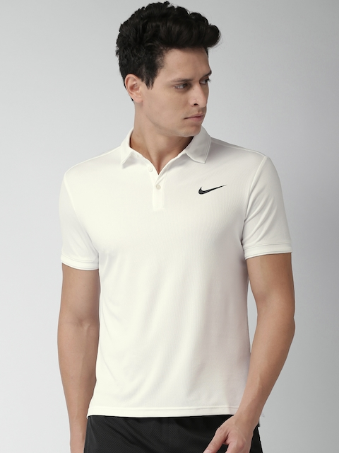 Nike Men White Solid Polo Collar T-shirt