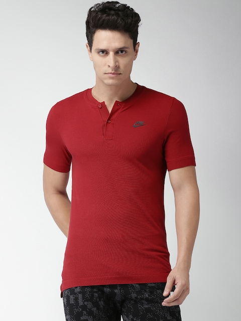 Nike Men Red Solid Mandarin Collar AS M NSW GSP POLO SS KNT T-shirt