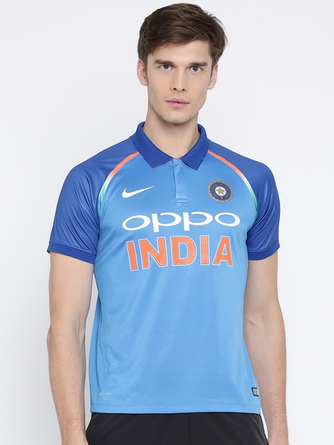 Nike Men Blue Printed Polo BCCI STDM JSY SS T-shirt