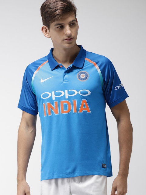 Nike Men Blue Printed Polo BCCI INDIA home Cricket Jersey