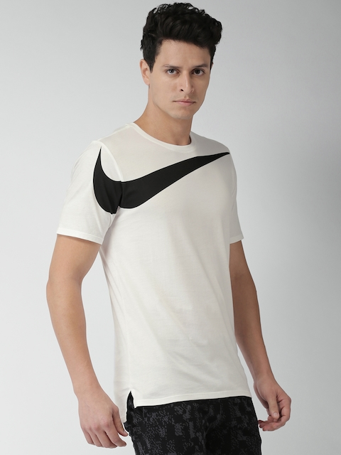 Nike Men White Printed Round Neck AS M NSW TEE DRPTL OVRSZ SWSH T-shirt