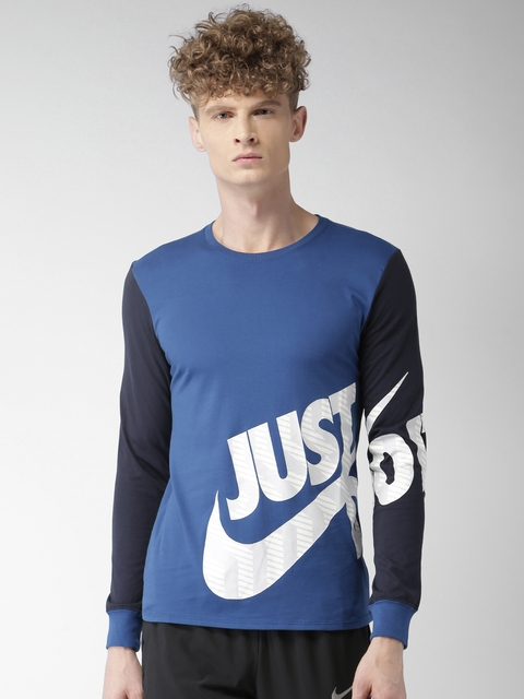 Nike Men Blue Printed AS M NSW TEE LS SWSH PLS JDI Round Neck T-shirt
