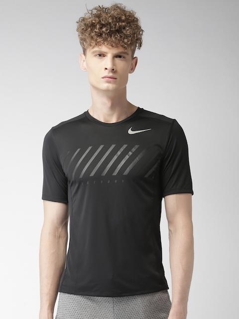 Nike Men Black Printed Round Neck T-Shirt