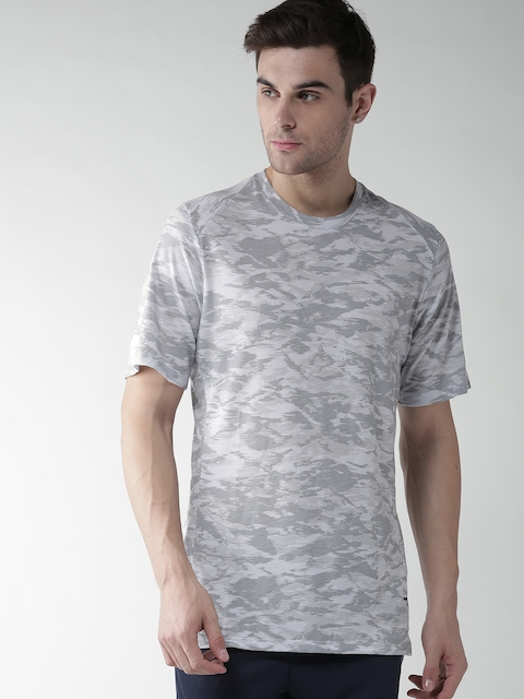 Nike Men Grey Printed Round Neck T-shirt