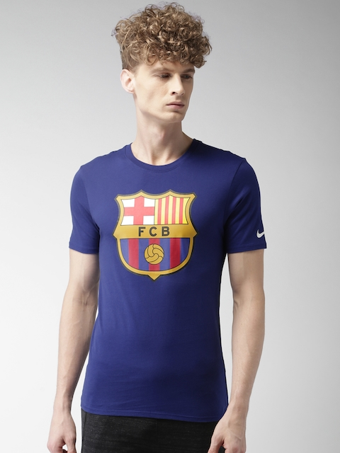Nike Men Blue Printed Round Neck T-Shirt