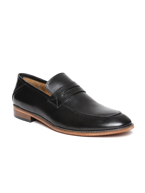 Bata Men Black Genuine Leather Semiformal Slip-Ons