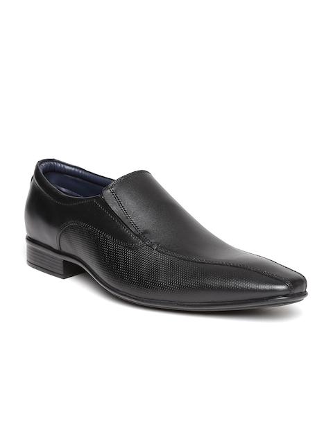 Bata Men Black Leather Textured Semiformal Slip-Ons