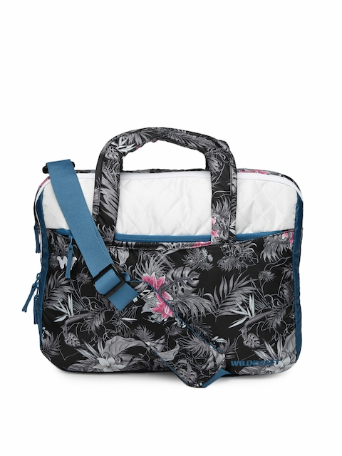 Wildcraft Unisex Black   Grey Floral Print Laptop Bag 186676e4e909d