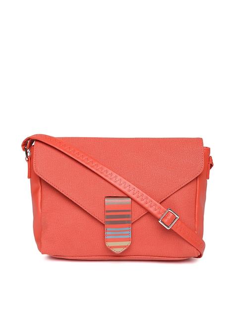 Baggit Coral Red Solid Sling Bag