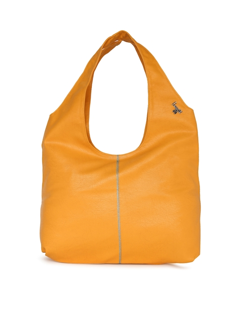 Baggit Yellow Solid Hobo Bag